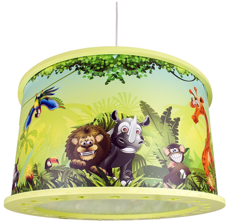 Elobra Kinderlampe Deckenleuchte Hängeleuchte Wildnis Dschungel, Kinderzimmer, Holz, grün, A++ [Energieklasse A++] grün 131442