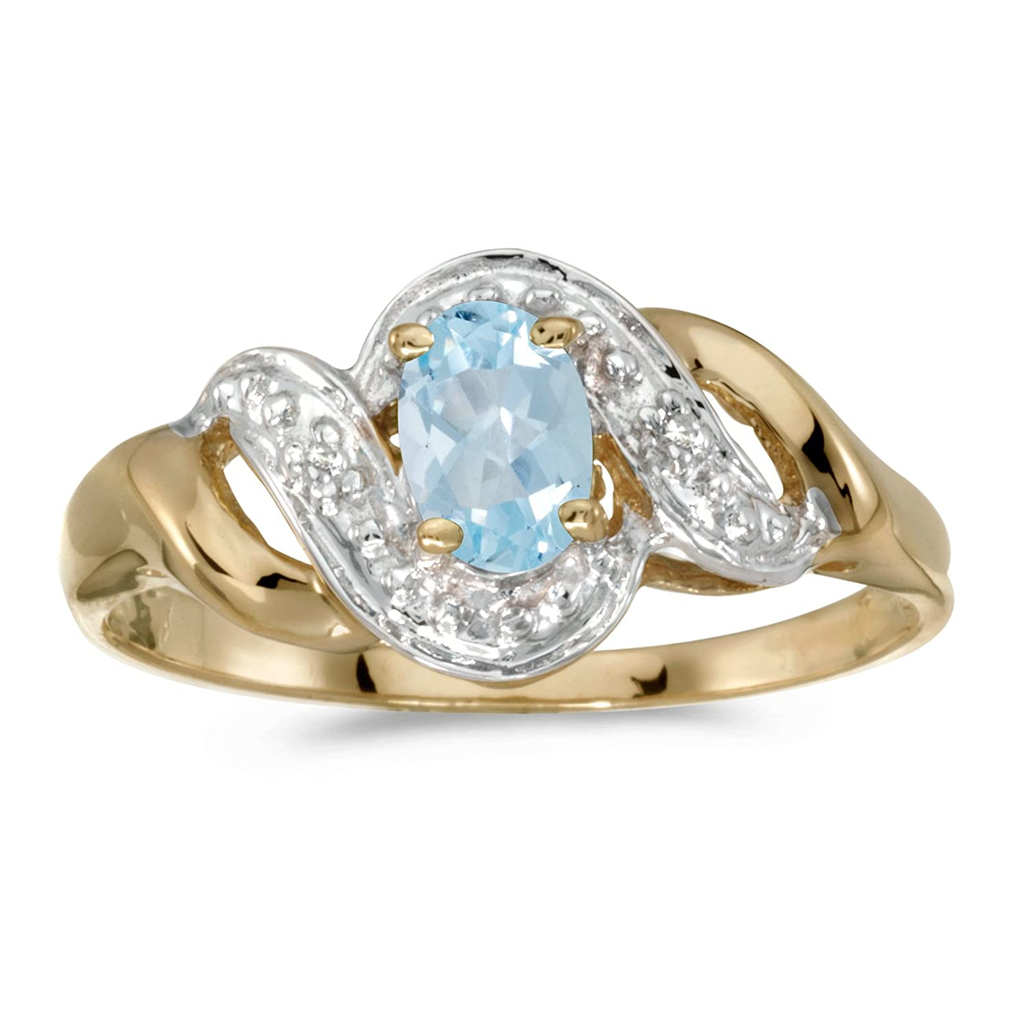 Jewels By Lux 14k Yellow Gold Genuine Birthstone Solitaire Oval Gemstone And Diamond Swirl Wedding Engagement Ring