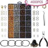 Souarts set met 4000 sieradenaccessoires, combinatie, ring, gesloten ring, sluiting, homard etc. voor DIY halsketting, armband oorbellen maken van sieraden
