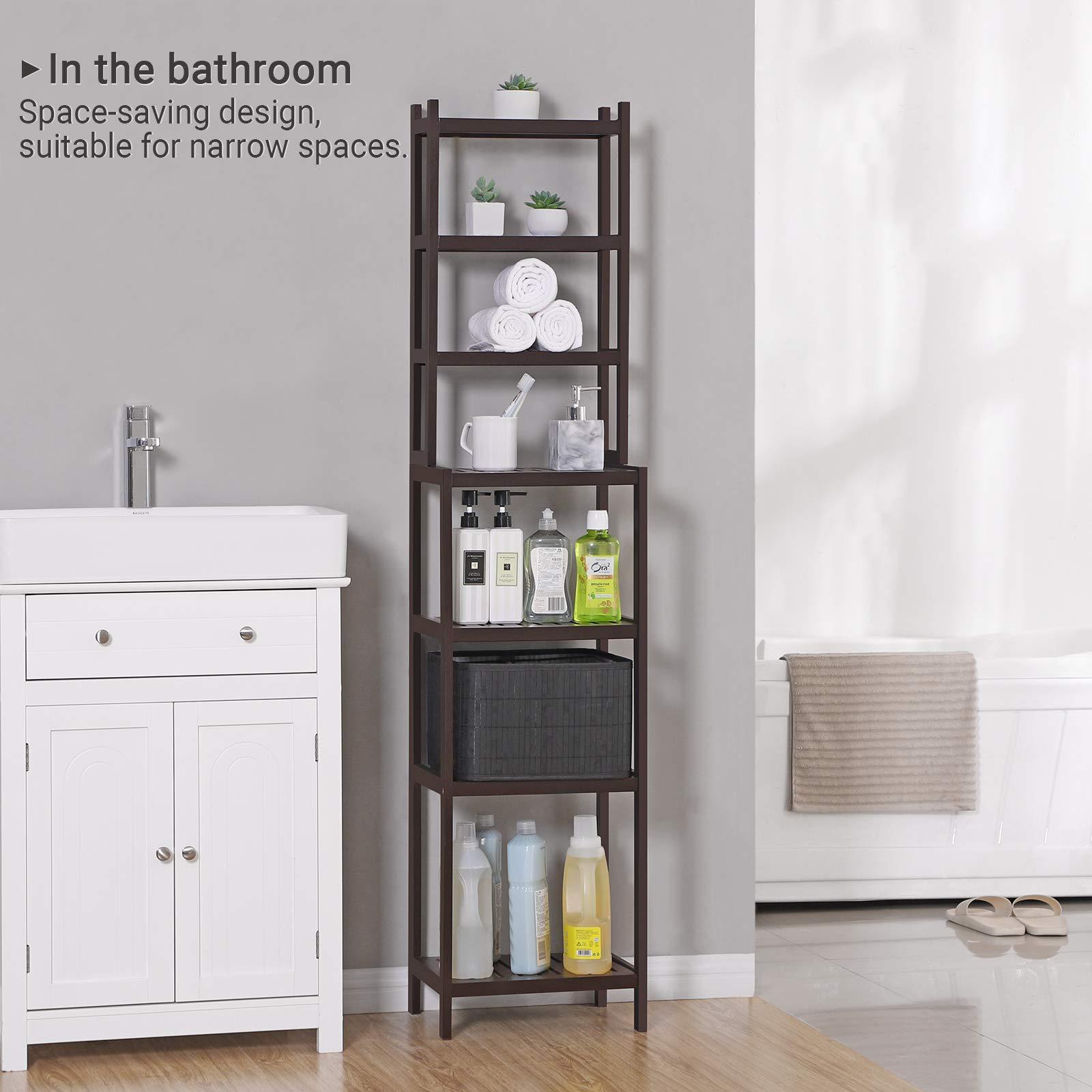 SONGMICS 7-Tier Bamboo Bathroom Shelf, 2-in-1 Design Adjustable Storage Rack, Free Standing Multifunctional Organizer, Shelving Unit for Washroom, Living Room, Kitchen, Brown UBCR01BR by SONGMICS (Image #3)