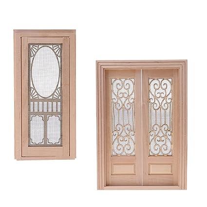 Amazon Com Homyl Wood Miniature External Hollow Screen Double Door