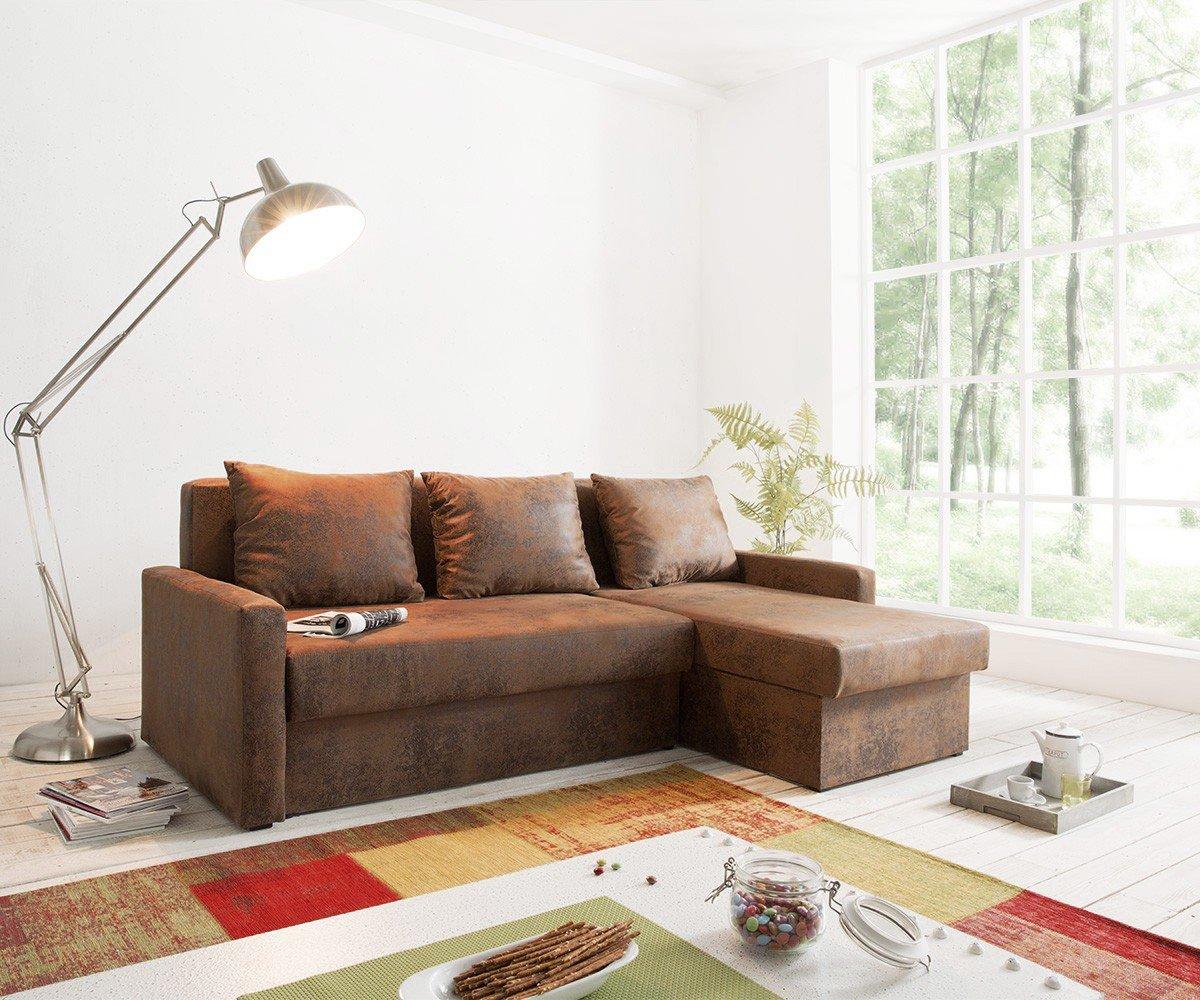 DELIFE Couch Avondi Braun 225x145 Antik Optik Schlaffunktion ...