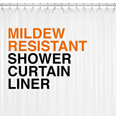 Heavy Duty PEVA Shower Curtain Liner 72x72 Clear - 10G Thickness, Mildew Resistant w/No Chemical Smell
