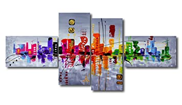 Visario - 6515, Set di quadri su tela, motivo moderno, effetto ...