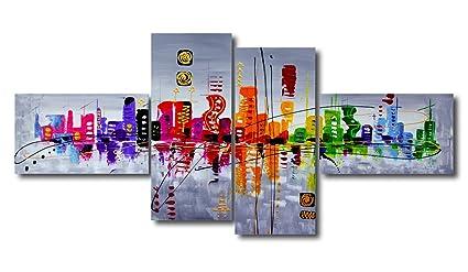 Visario 6515, Set di quadri su tela, motivo moderno, effetto dipinto ...