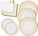 Disposable Dinnerware Set for 50 Guests Gold Dot Plates and Napkins 50 Paper Dinner Plates 50  sc 1 st  Amazon.com & Amazon.com: Bridal Wedding Shower Sturdy Paper Plates and Napkins ...