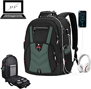 Laptop Backpack 17 Inch Business Travel Backpacks for Men Women Extra Large Waterproof TSA Anti Theft College School Bookbags with USB Charging Port 17.3 Gaming Computer Backpack 45L,Green