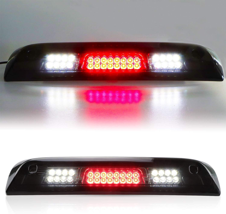 LED 3rd Brake Light High Mount Stop Light Fit for 2014-2018 GMC Sierra//Chevy Silverado 1500 2015-2018 GMC Sierra//Chevy Silverado 2500HD 3500HD 23509162 Chrome Housing Red Lens