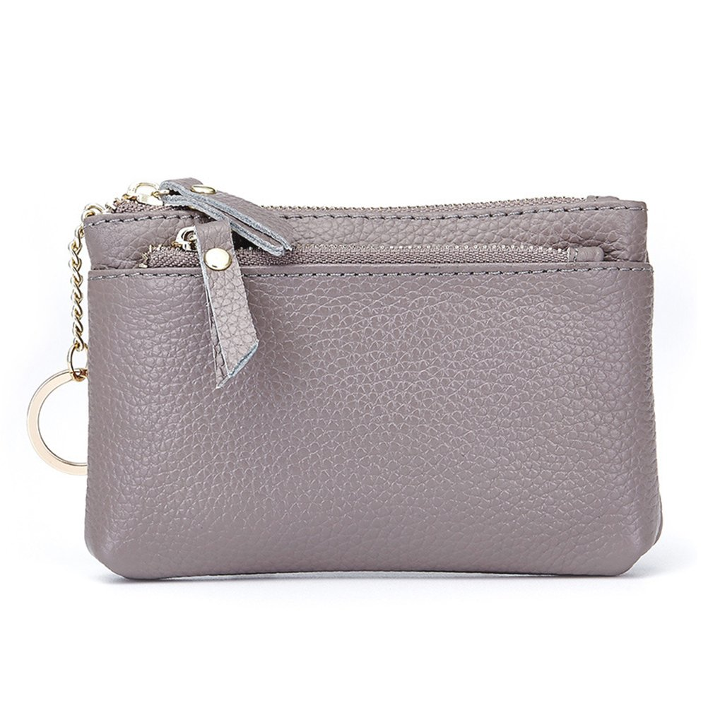 Womens Leather Coin Purse Keychain Zipper Change Holder Wallet(Grey) by Fmeida (Image #1)