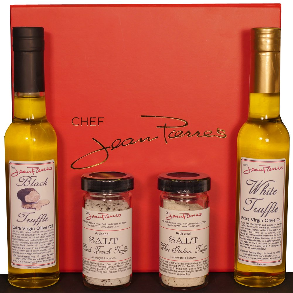 Truffle Gift Box - White Truffle Oil 100% Natural 200ml, Black Truffle Oil 100% Natural 200ml, White Italian Truffle Salt 100% Natural, Black French Truffle Salt 100% Natural by Chef Jean-Pierre's