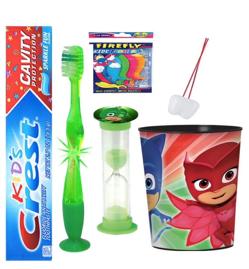 "PJ Masks ""Gekko"" inspired 4pc Bright Smile Oral Hygiene Bundle! Flashing Lights Toothbrush, Toothpaste, Brushing Timer &Mouthwash Rinse Cup! Plus Bonus Flossers &Tooth Necklace as Visual Aid Reminder!"