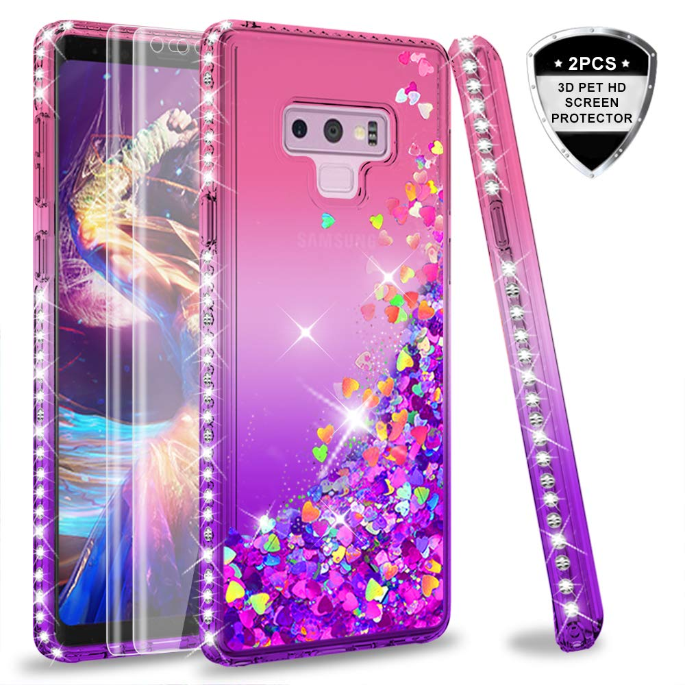 Note 9 Glitter Case with PET Screen Protector [2 Pack] for Girls Women, LeYi Bling Diamond Liquid Quicksand TPU Protective Phone Case for Samsung Galaxy Note 9 (Pink/Purple)