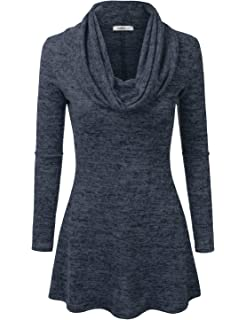 Doublju Marled Cowl Neck A-Line Tunic Sweater Dress Top for Women with Plus  Size 203943a65