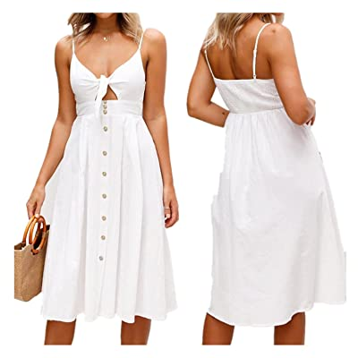 BSGSH Maxi Dresses for Womens Knot Front Cutout Button Spaghetti Strap Summer Beach Long Dress