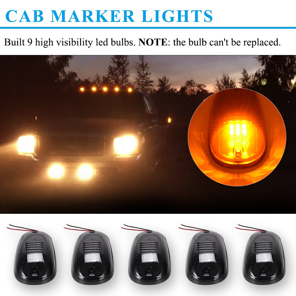 Yitamotor Cab Marker Lights 5 X Amber Top Clearance Roof Dodge Light Wiring Harness Running With Compatible For Ford Truck Suv Pickup 4x4