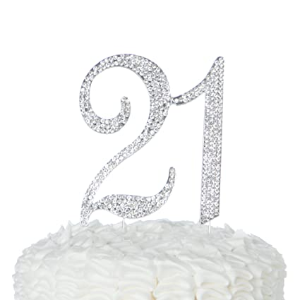 Ella Celebration 21 Cake Topper For 21st Birthday Party Supplies Decoration Ideas Silver