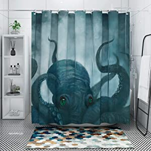 DESIHOM Octopus Shower Curtain, Nautical Shower Curtain Kraken Shower Curtain Ocean Shower Curtain Cool Kids Anime Shower Curtain Deep Sea Tentacle Polyester Shower Curtain 72x72 Inch