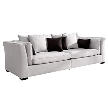 Sofa FEELINGS grau Federkern inkl. Kissen im Landhausstil Couch ...