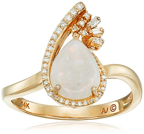 14k Yellow Gold Pear Opal Framed with Diamonds Ring (1/10cttw, I-J Color, I2-I3 Clarity), Size 7