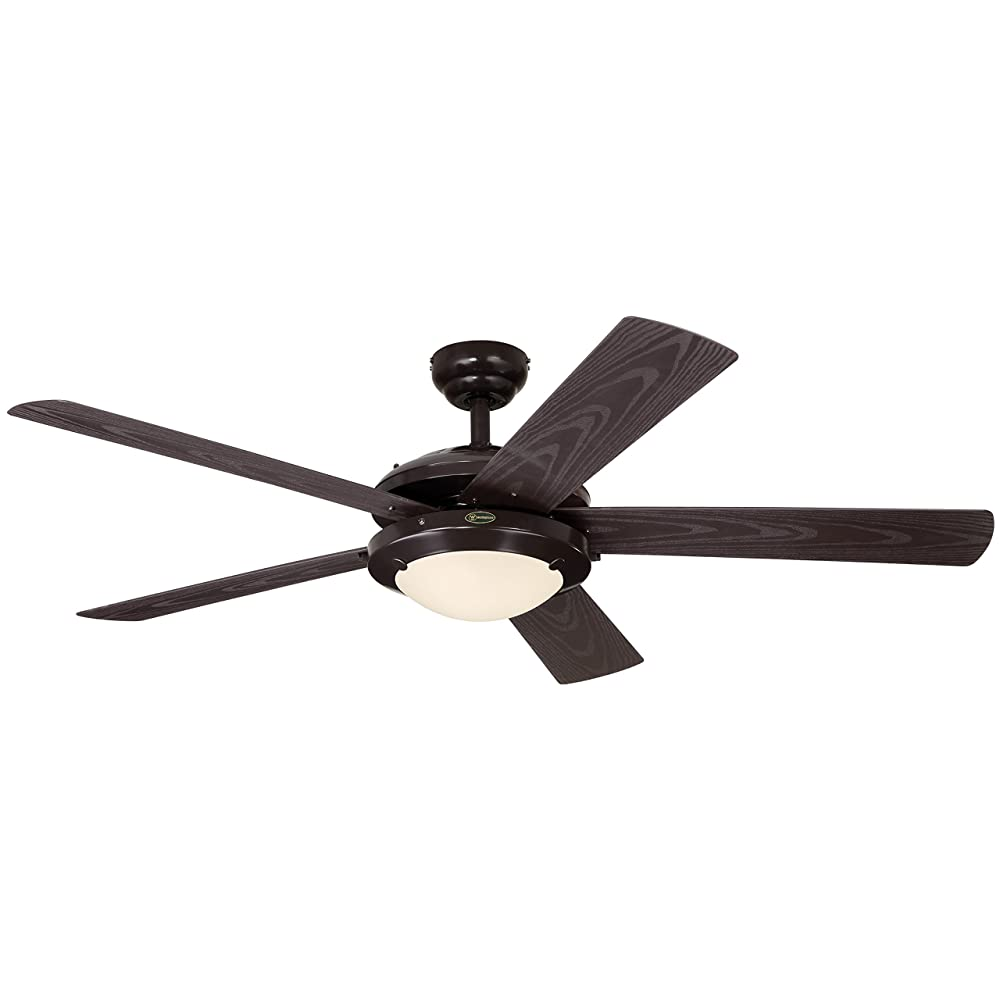 "Westinghouse 7200700 Comet Two-Light 52"" Five-Blade Indoor/Outdoor Ceiling Fan, Espresso with Frosted Glass Review"