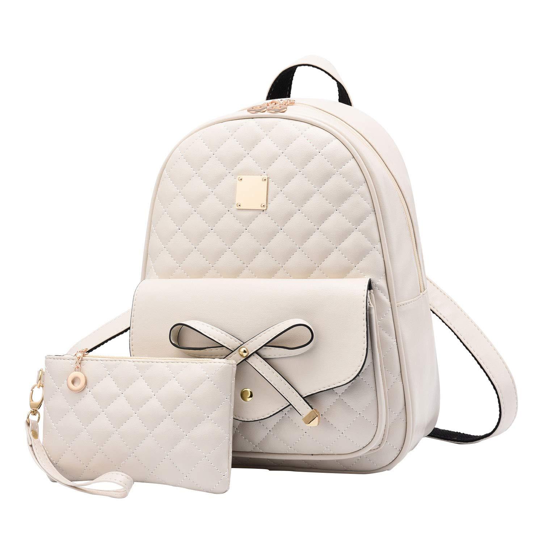 I IHAYNER Girls Bowknot 2-PCS Fashion Backpack Cute Mini Leather Backpack Purse for Women Beige by I IHAYNER