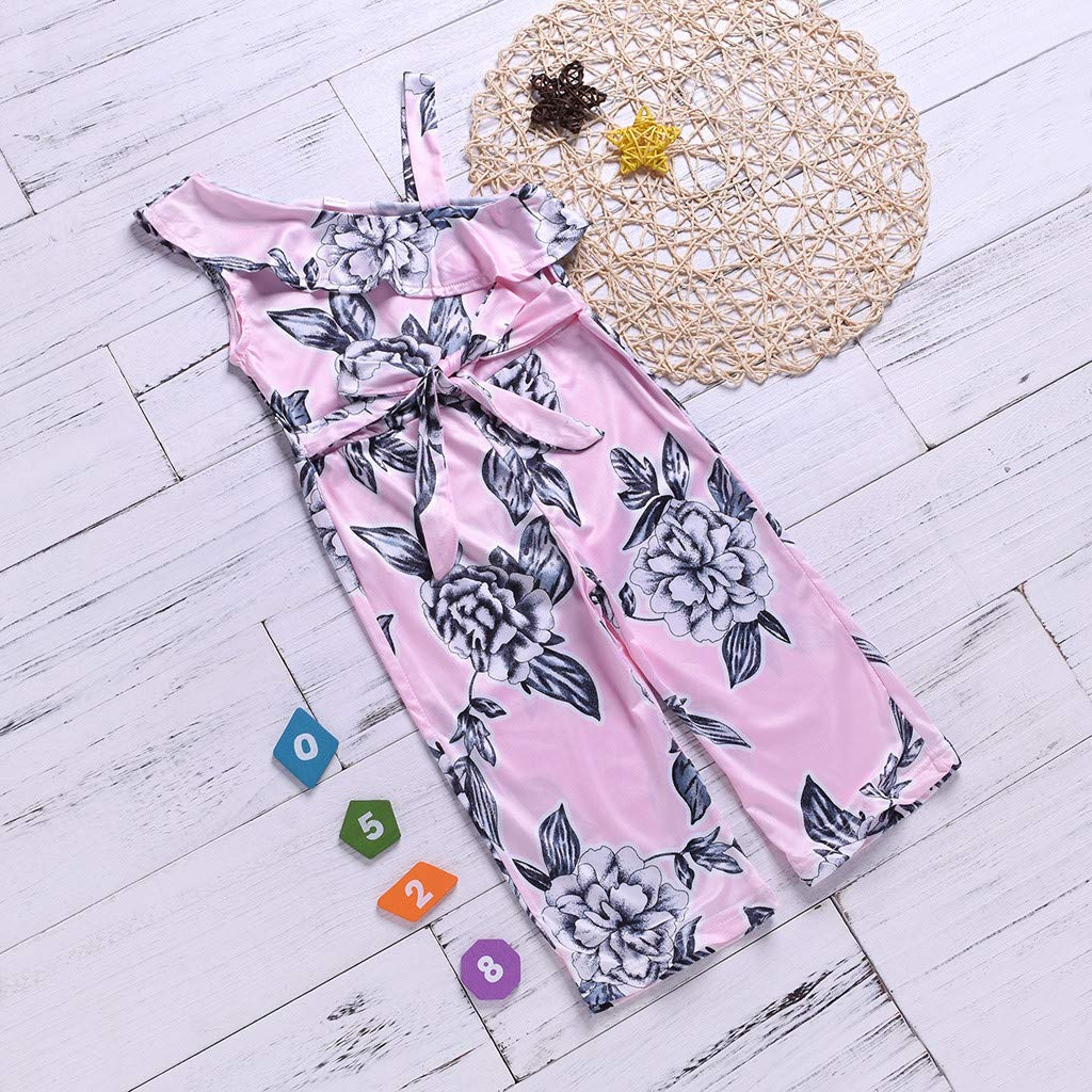 Ruffles Sleevless Floral Print Off Shoulder with Belt Casual Jumpsuit WARMSHOP Little Girls One Piece Playsuit 1-5 Years Old