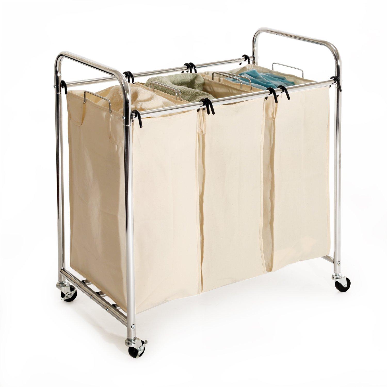Amazon Seville Classics Mobile 3 Bag Heavy Duty Laundry Hamper