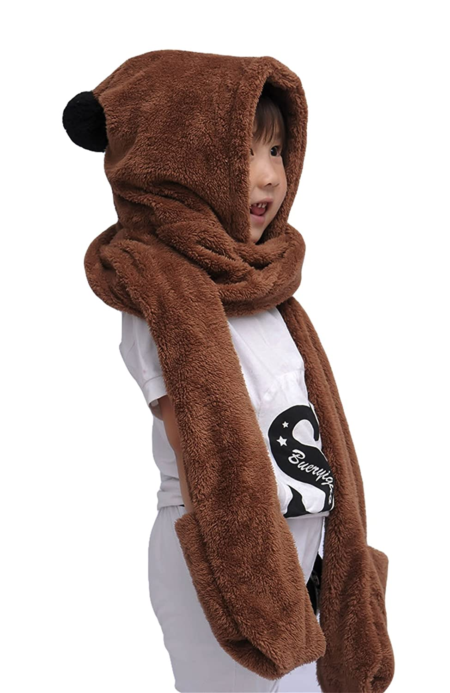 Aivtalk Little Boys Girls Winter Warm Long Hooded Scarf Earflap Hat Gloves Pocket - Coffee
