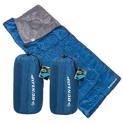 2x Dunlop Sac de couchage couverture ultra-léger Bleu 190x 75cm Minus 8°C