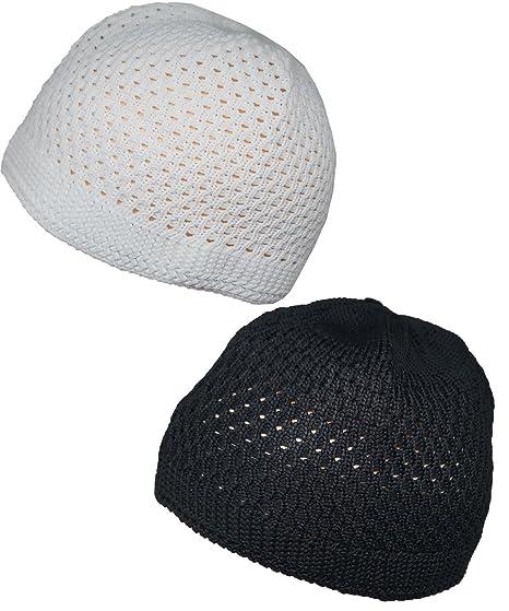 Set Black White Muslim Skull Cap Beanie Islam Crochet Takke Kufi Hat
