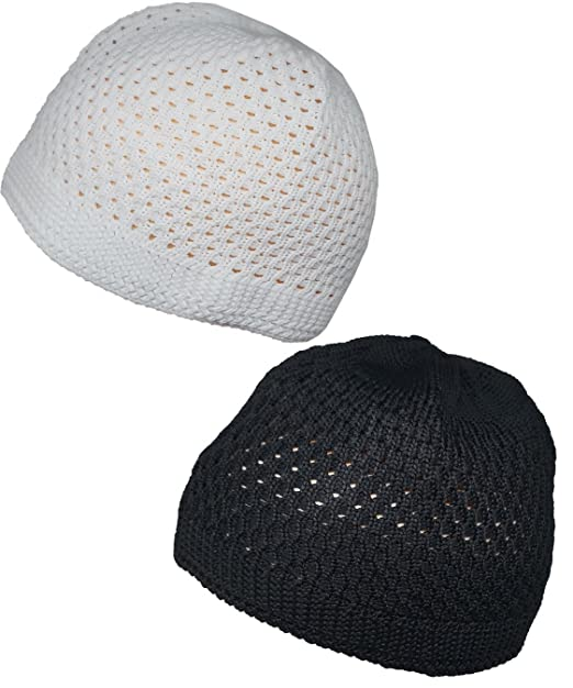 78d2a4eeb45 Image Unavailable. Image not available for. Color  Set Black White Muslim  Skull Cap Beanie Islam Crochet Takke Kufi Hat