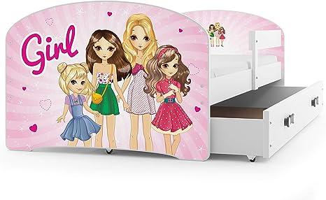 Interbeds Cama Individual LUKI - Blanco,160X80, con cajón, somier y colchón de Espuma Gratis! (Girls)