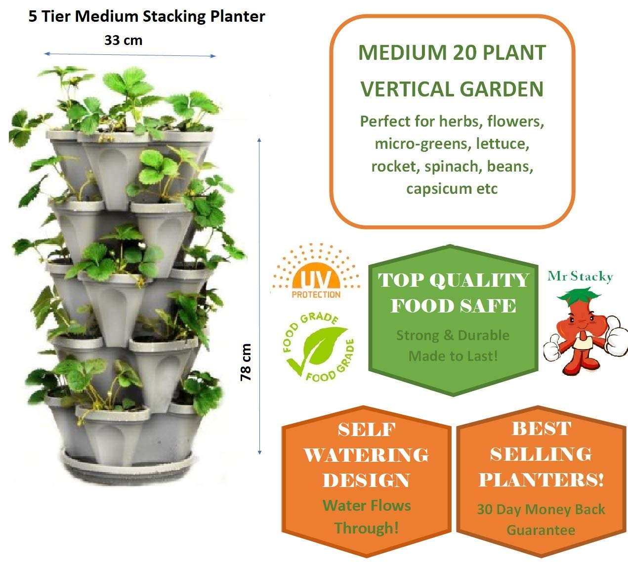 5 Tier Stackable Strawberry Herb Flower And Vegetable Planter