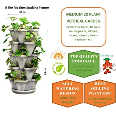 5 Tier Stackable Strawberry, Herb, Flower, and Vegetable Planter - Vertical Garden Indoor/Outdoor