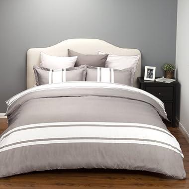 Bedsure Duvet Cover Set with Zipper Closure-Grey/White Stripe Design Floral Design,King(104 x90 )-2 Piece (1 Duvet Cover + 2 Pillow Sham)-Ultra Soft Hypoallergenic Microfiber