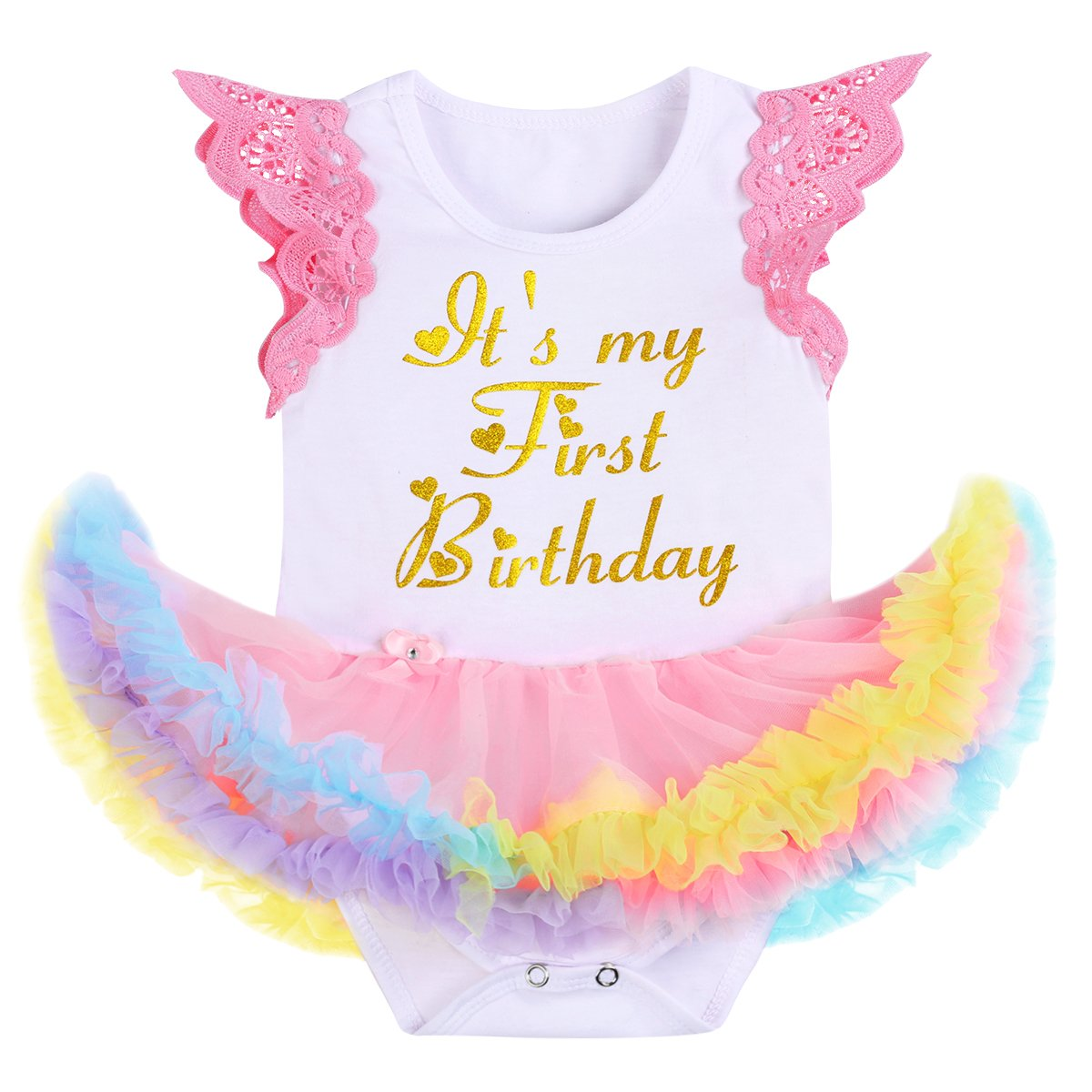 IBTOM CASTLE Baby Girl It's My 1st Birthday Outfits Unicorn Romper Tutu Dress
