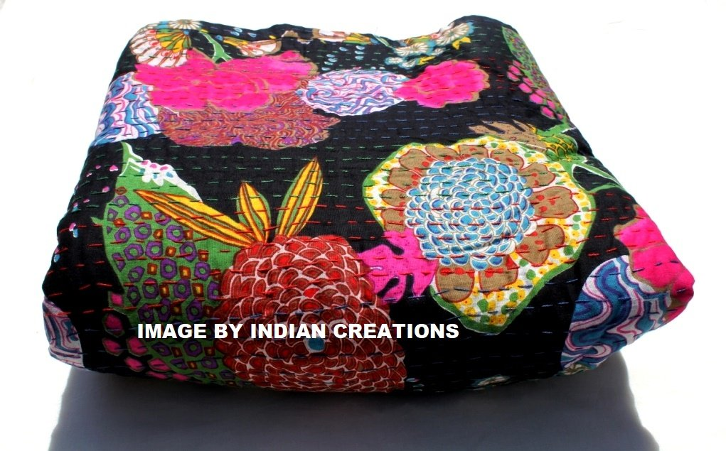 INDIAN CREATIONS Kantha Bedspread, Bohemian Bedding Kantha,fruit Print Kantha Quilt , Kantha Blanket, Bed Cover 90x108''