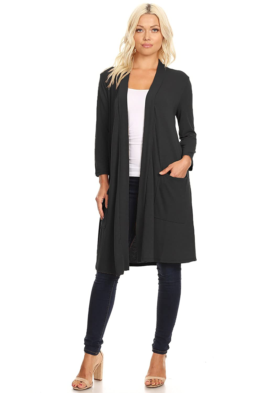 Women's Casual Lightweight Loose Pocket Long Body Solid Knit Cardigan