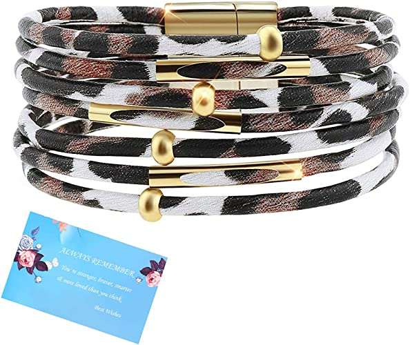 Hicarer Leopard Bracelets Leopard Tube Bracelet Multilayer Leather Cuff Bracelet and Boho Leopard Earrings for Women Girls