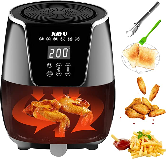 NAVU Digital Air Fryer 3.2QT/3L, 1500-Watt Compact Hot Air Fryers Oven and Oilless Cooker with Adjustable Temperature and Timer Function for Frying, Roasting, Baking and Grilling