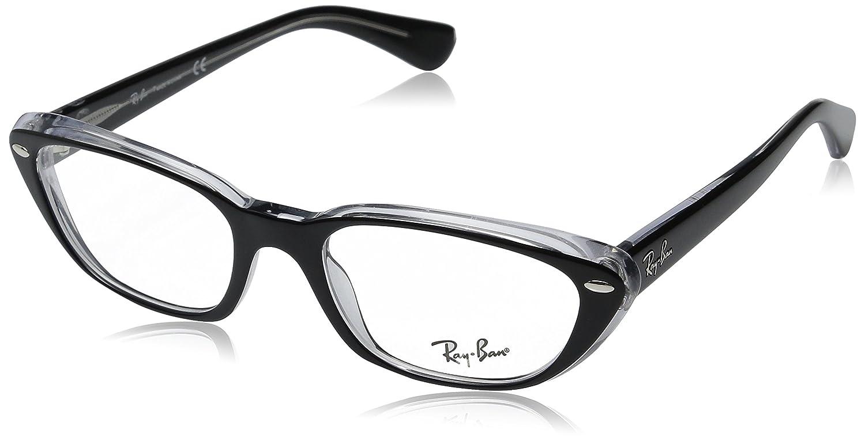 375df82ce6 Amazon.com  Ray-Ban Women s RX5242 Eyeglasses Top Black On Transparent 53mm   Ray Ban  Clothing