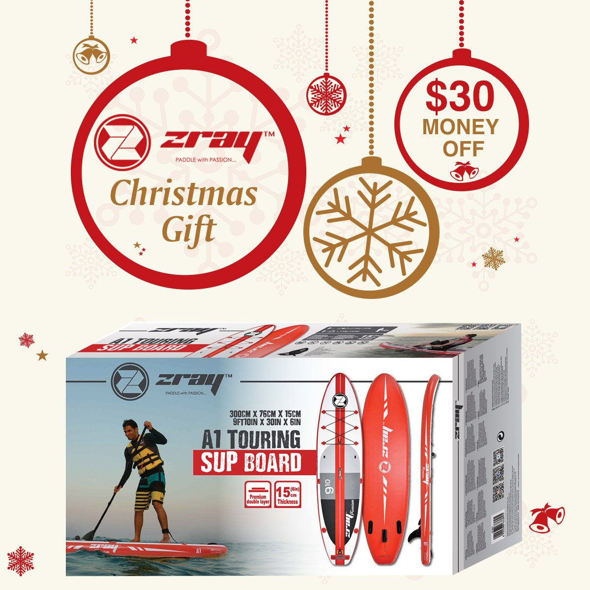 Zray Paddle Board 9'10'' Inflatable SUP Package (Board, Pump, Paddle and Backpack bag), 6'' Thickness by Zray (Image #2)