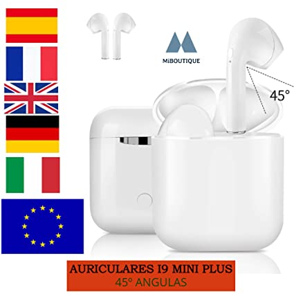 Auriculares inalambricos, i9 Mini S, Bluetooth 5.0 Magnético Wireless, Cascos 45º angulas de