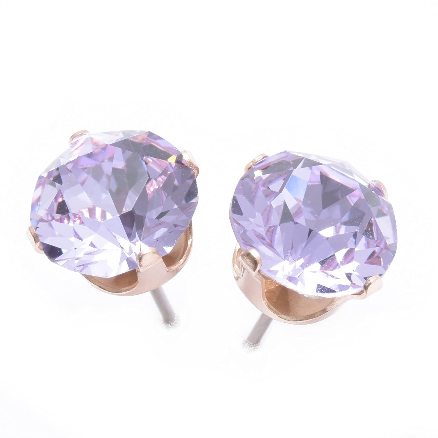 d68151d359967 pewterhooter 9mm Rose Gold stud earrings expertly made with Violet crystal  from SWAROVSKI®.