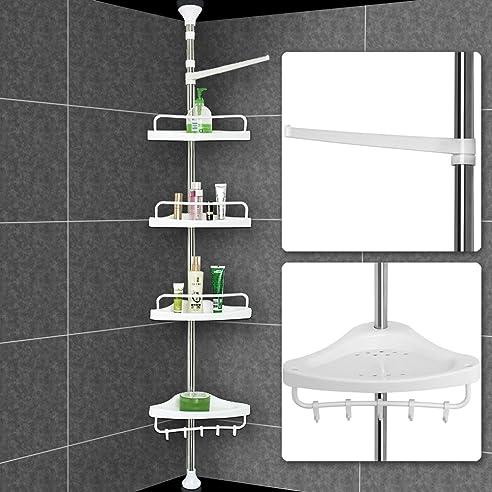 badregal eckregal bad duschablage duschregal bad teleskop regal duschecke 4 ablagen extra handtuchhalter - Teleskop Eckregal Dusche Edelstahl