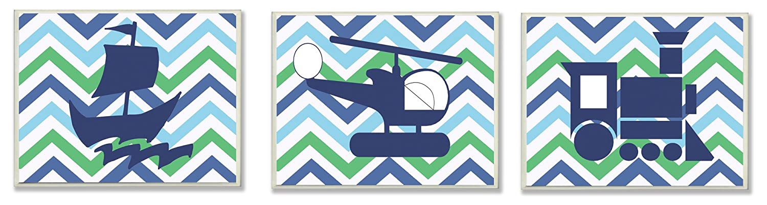 The Kids Room by Stupell Sail Boat, Helicopter, Train Green And Blue Chevron 3-Pc. Rectangle Wall Plaque Set, 11 x 0.5 x 15, Proudly Made in USA
