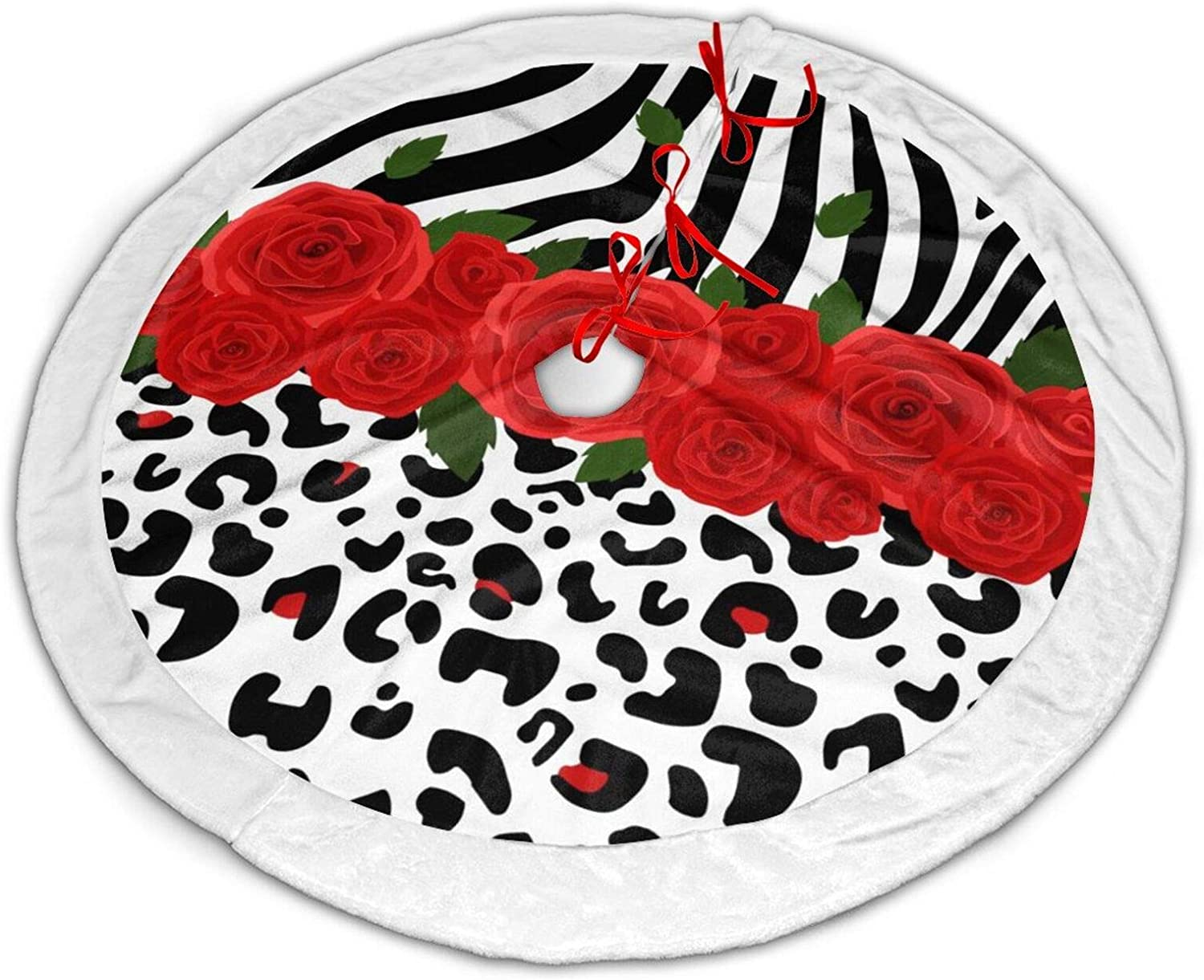 Red Flower Animal Zebra Print Christmas Tree Skirt 36