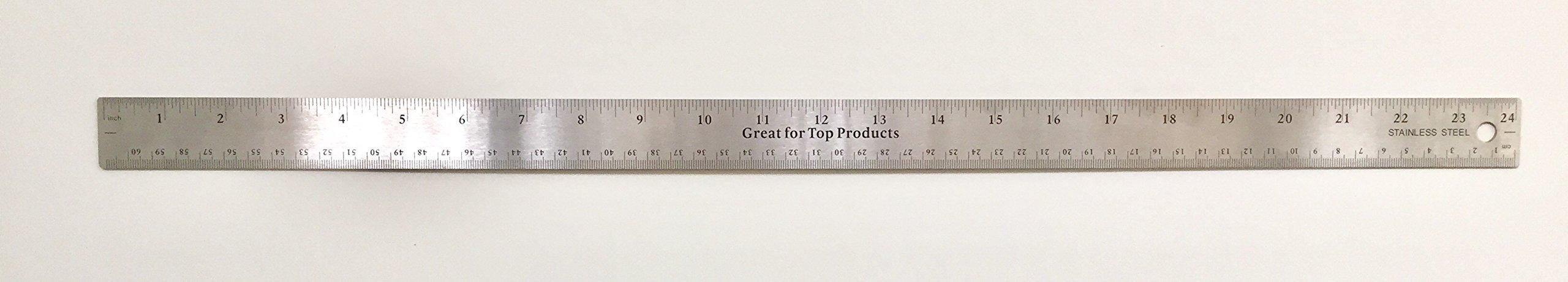 GTP Metal Stainless Steel Ruler 24 inches metric With Slip Cork Base - BULK (144 each 24'')