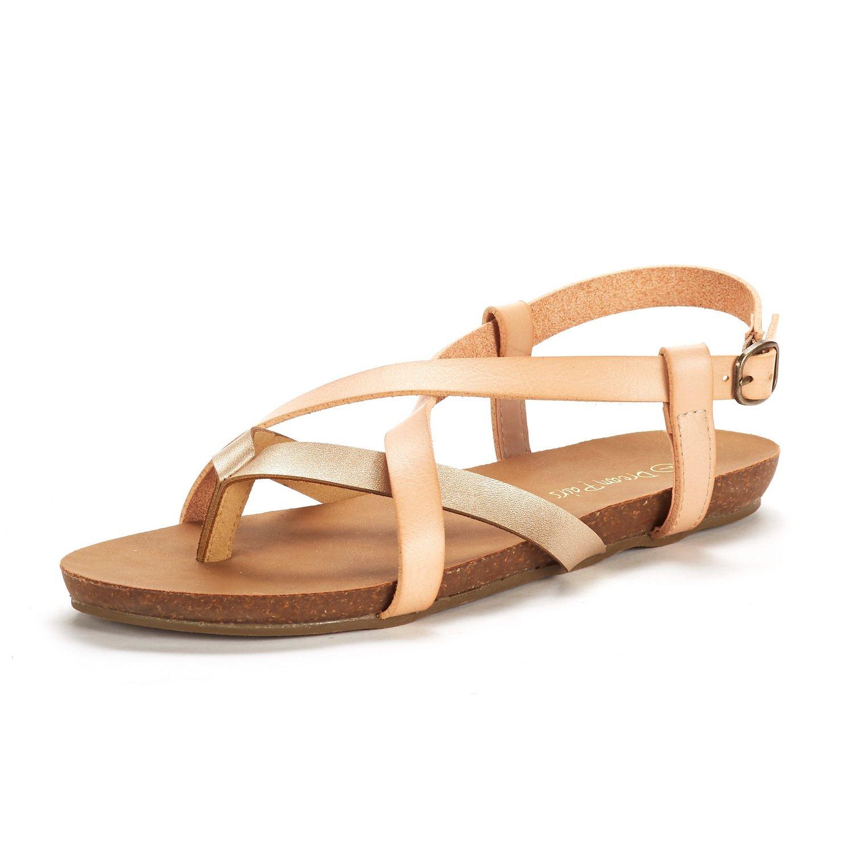 DREAM PAIRS Women's Bold_01 Gold Blush Fashion Sling Back Flat Sandals Size 7.5 M US