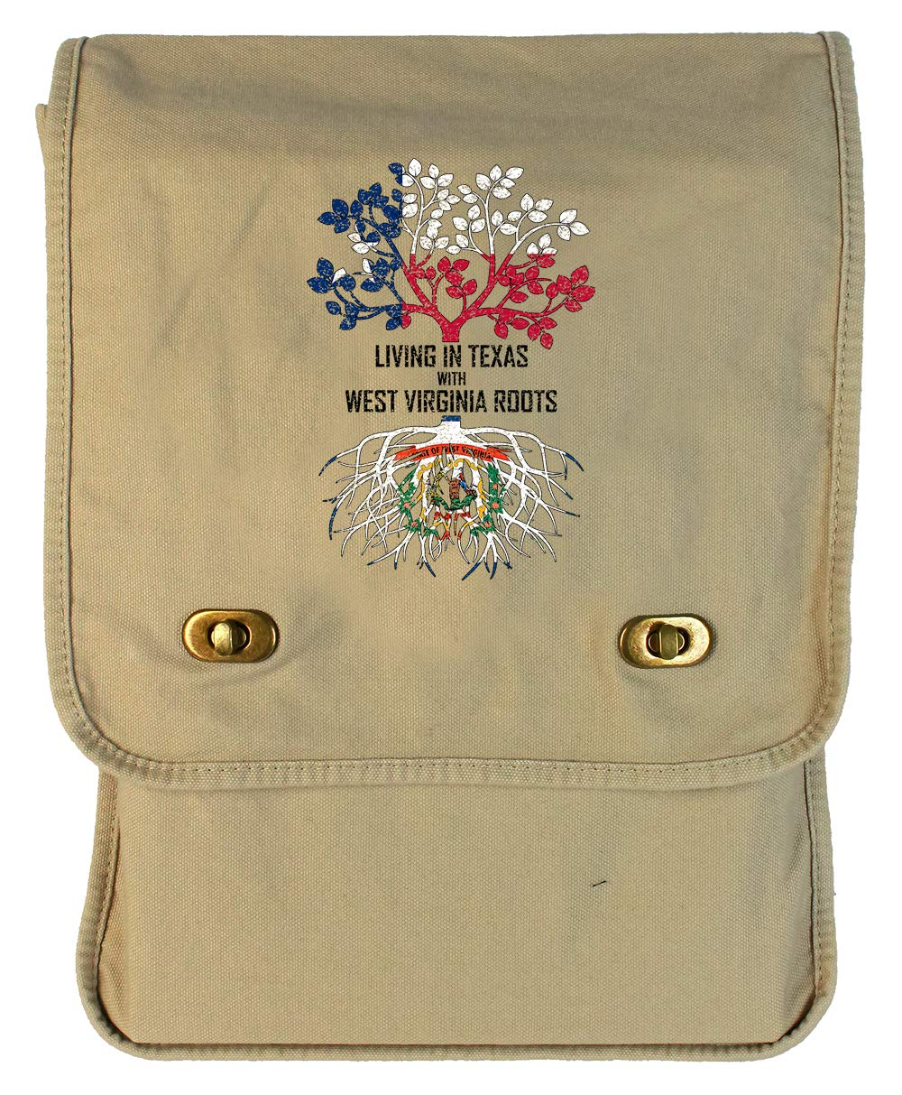 Tenacitee Living In Texas with West Virginia Roots Grey Brushed Canvas Messenger Bag
